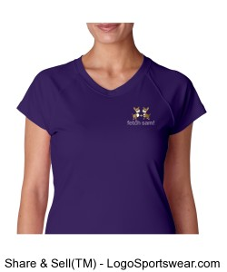 Ladies Wicking V-Neck Tee - Printed Logo Design Zoom